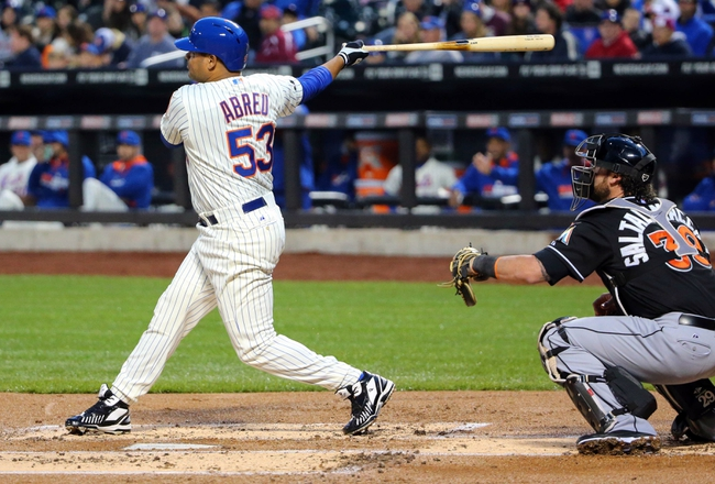 Apr 26, 2014; New York, NY, USA; New York Mets right fielder Bobby Abreu (53) hits a two-run home run during the first inning against the Miami Marlins at Citi Field. Mandatory Credit: Anthony Gruppuso-USA TODAY Sports