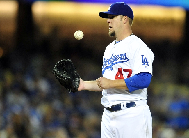 April 26, 2014; Los Angeles, CA, USA; Los Angeles Dodgers starting pitcher Paul Maholm (47) before being relieved in the eighth inning against the Colorado Rockies at Dodger Stadium. Mandatory Credit: Gary Vasquez-USA TODAY Sports