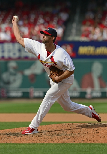 Apr 27, 2014; St. Louis, MO, USA; St. Louis Cardinals starting pitcher Adam Wainwright (50) throws to a Pittsburgh Pirates batter during the eighth inning at Busch Stadium. St. Louis defeated Pittsburgh 7-0. Mandatory Credit: Jeff Curry-USA TODAY Sports