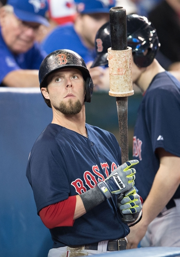 Apr 25, 2014; Toronto, Ontario, CAN; Boston Red Sox second baseman Dustin Pedroia (15) gets ready to bat in a game against the Toronto Blue Jays at Rogers Centre. The Boston Red Sox won 8-1. Mandatory Credit: Nick Turchiaro-USA TODAY Sports