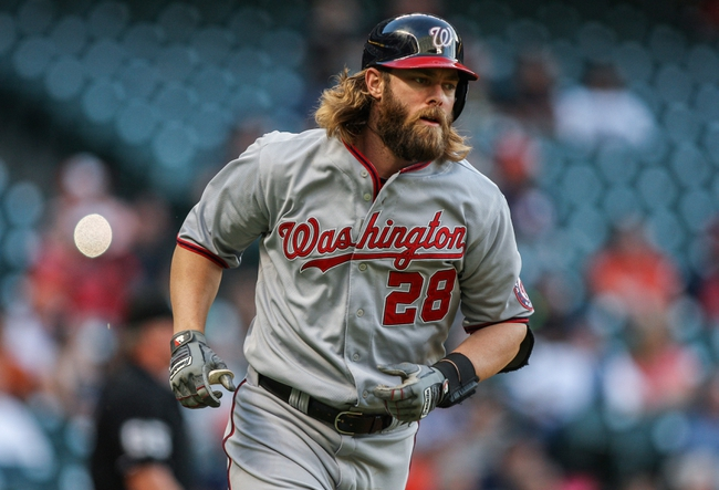 Apr 29, 2014; Houston, TX, USA; Washington Nationals designated hitter Jayson Werth (28) rounds the bases after hitting a home run during the first inning against the Houston Astros at Minute Maid Park. Mandatory Credit: Troy Taormina-USA TODAY Sports