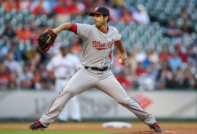 Apr 29, 2014; Houston, TX, USA; Washington Nationals starting pitcher Gio Gonzalez (47) pitches during the first inning against the Houston Astros at Minute Maid Park. Mandatory Credit: Troy Taormina-USA TODAY Sports