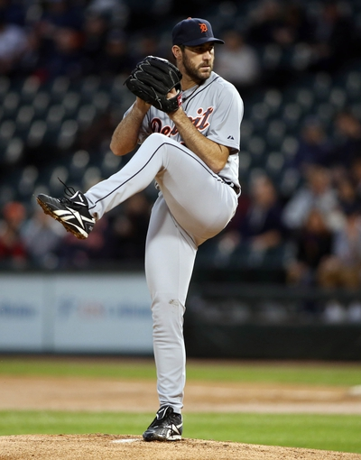 Apr 29, 2014; Chicago, IL, USA; Detroit Tigers starting pitcher Justin Verlander throws a pitch against the Chicago White Sox in the first inning at U.S Cellular Field. Mandatory Credit: Jerry Lai-USA TODAY Sports