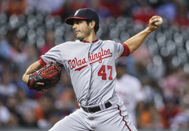 Apr 29, 2014; Houston, TX, USA; Washington Nationals starting pitcher Gio Gonzalez (47) delivers a pitch during the third inning against the Houston Astros at Minute Maid Park. Mandatory Credit: Troy Taormina-USA TODAY Sports