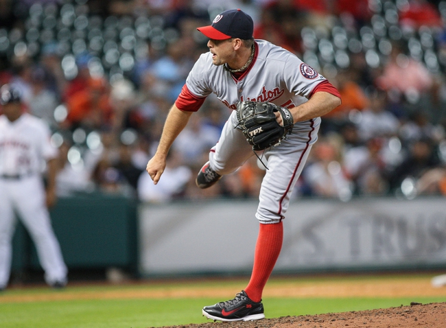 Apr 29, 2014; Houston, TX, USA; Washington Nationals relief pitcher Craig Stammen (35) pitches during the seventh inning against the Houston Astros at Minute Maid Park. Mandatory Credit: Troy Taormina-USA TODAY Sports
