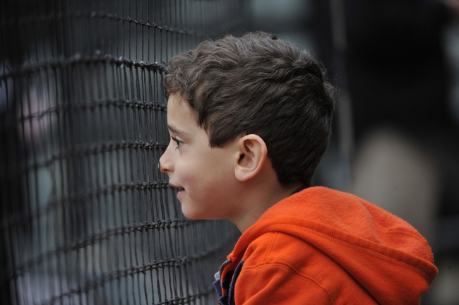 Apr 30, 2014; Chicago, IL, USA;  A young fan watches players warm up before the game between the Chicago White Sox and the Detroit Tigers at U.S Cellular Field. Mandatory Credit: David Banks-USA TODAY Sports