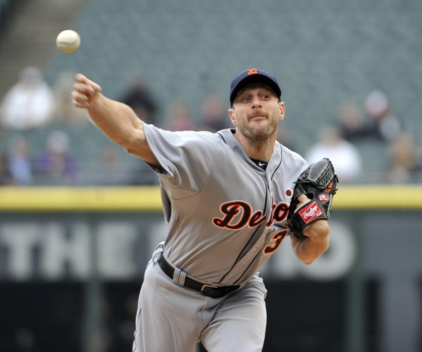 Apr 30, 2014; Chicago, IL, USA; Detroit Tigers starting pitcher Max Scherzer (37) pitches against the Chicago White Sox during the first inning at U.S Cellular Field. Mandatory Credit: David Banks-USA TODAY Sports