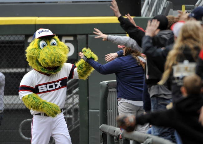 Apr 30, 2014; Chicago, IL, USA; Chicago White Sox mascot Southpaw greets fans in the sixth inning of a game between the Chicago White Sox and the Detroit Tigers at U.S Cellular Field. Mandatory Credit: David Banks-USA TODAY Sports