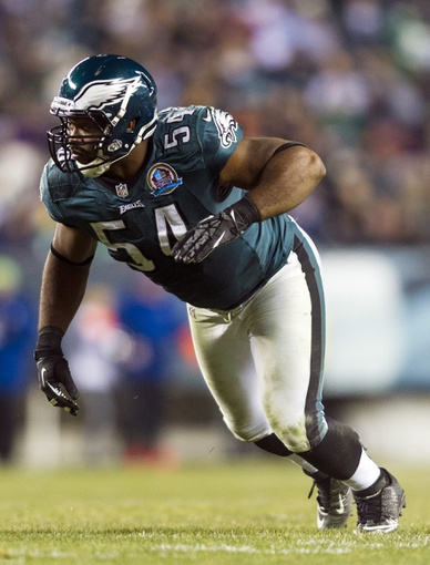 Dec 13, 2012; Philadelphia, PA, USA; Philadelphia Eagles defensive end Brandon Graham (54) during the third quarter against the Cincinnati Bengals at Lincoln Financial Field. The Bengals defeated the Eagles 34-13. Mandatory Credit: Howard Smith-USA TODAY Sports