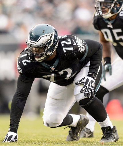 Dec 1, 2013; Philadelphia, PA, USA; Philadelphia Eagles defensive tackle Cedric Thornton (72) lines up during the third quarter against the Arizona Cardinals at Lincoln Financial Field. The Eagles defeated the Cardinals 24-21. Mandatory Credit: Howard Smith-USA TODAY Sports