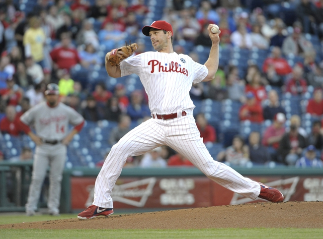 May 2, 2014; Philadelphia, PA, USA; Philadelphia Phillies starting pitcher Cliff Lee (33) throws a pitch n the first inning against the Washington Nationals at Citizens Bank Park. Mandatory Credit: Eric Hartline-USA TODAY Sports