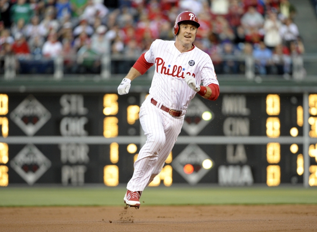 May 2, 2014; Philadelphia, PA, USA; Philadelphia Phillies second baseman Chase Utley (26) runs to third base during the first inning against the Washington Nationals at Citizens Bank Park. Mandatory Credit: Eric Hartline-USA TODAY Sports