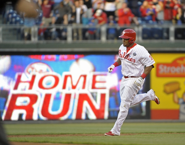 May 2, 2014; Philadelphia, PA, USA; Philadelphia Phillies right fielder Marlon Byrd (3) rounds the bases after hitting a three run home run in the first inning against the Washington Nationals at Citizens Bank Park. Mandatory Credit: Eric Hartline-USA TODAY Sports