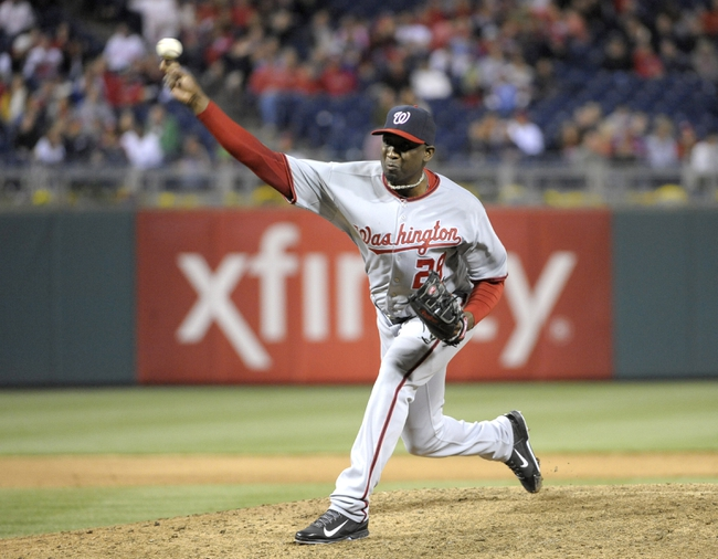 May 2, 2014; Philadelphia, PA, USA; Washington Nationals relief pitcher Rafael Soriano (29) throws a pitch in the ninth inning against the Philadelphia Phillies at Citizens Bank Park. The Nationals defeated the Phillies, 5-3. Mandatory Credit: Eric Hartline-USA TODAY Sports