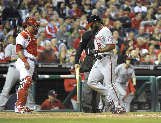 May 2, 2014; Philadelphia, PA, USA; Washington Nationals center fielder Denard Span (2) scores a run in the eighth inning against the Philadelphia Phillies at Citizens Bank Park. The Nationals defeated the Phillies, 5-3. Mandatory Credit: Eric Hartline-USA TODAY Sports