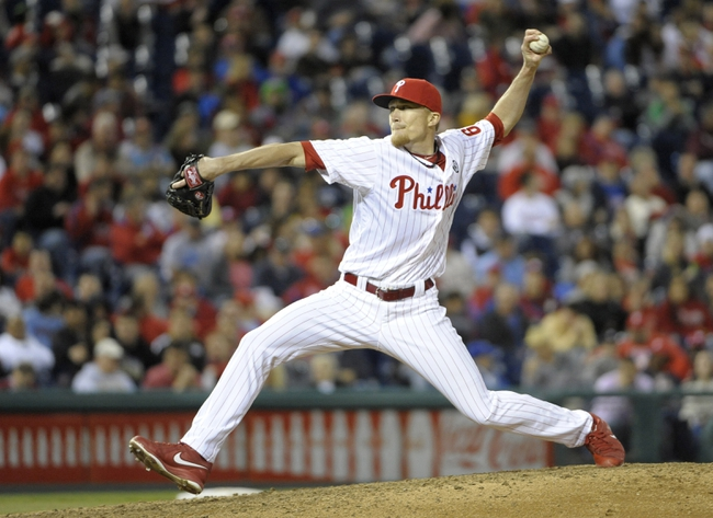 May 2, 2014; Philadelphia, PA, USA; Philadelphia Phillies relief pitcher Jacob Diekman (63) throws a pitch in the eighth inning against the Washington Nationals at Citizens Bank Park. The Nationals defeated the Phillies, 5-3. Mandatory Credit: Eric Hartline-USA TODAY Sports