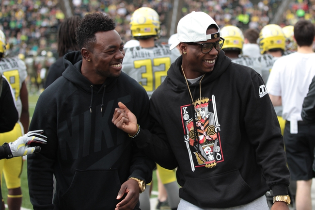 May 3, 2014; Eugene, OR, USA; Carolina Panthers running back Kenjon Barner and former Oregon Ducks wide receiver Josh Huff attend the game at Autzen Stadium. Mandatory Credit: Scott Olmos-USA TODAY Sports