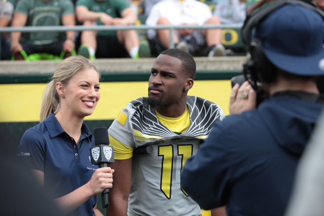 May 3, 2014; Eugene, OR, USA; Oregon Ducks wide receiver Bralon Addison (11) is interviewed at Autzen Stadium. Mandatory Credit: Scott Olmos-USA TODAY Sports