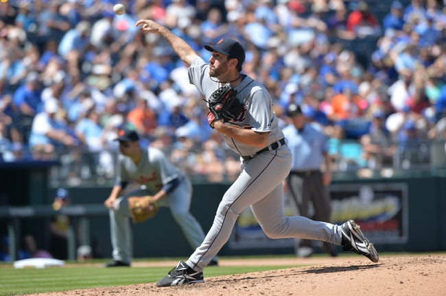 May 4, 2014; Kansas City, MO, USA; Detroit Tigers pitcher Justin Verlander (35) delivers a pitch against the Kansas City Royals during the seventh inning at Kauffman Stadium. The Tigers beat the Royals 9-4. Mandatory Credit: Peter G. Aiken-USA TODAY Sports