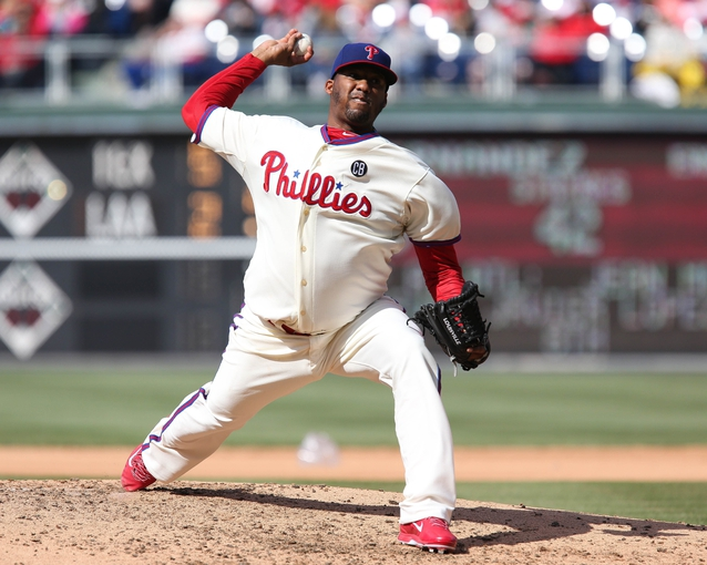 May 4, 2014; Philadelphia, PA, USA; Philadelphia Phillies starting pitcher Roberto Hernandez (27) pitches in the 6th inning in a game against the Washington Nationals at Citizens Bank Park. The Phillies defeated the Nationals 1-0. Mandatory Credit: Bill Streicher-USA TODAY Sports
