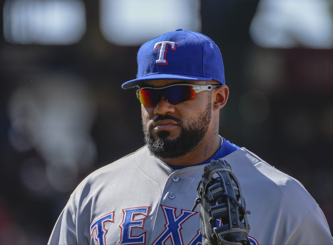 May 4, 2014; Anaheim, CA, USA; Texas Rangers first baseman Prince Fielder (84) during the Rangers 14-5 win over the Los Angeles Angels at Angel Stadium of Anaheim. Mandatory Credit: Robert Hanashiro-USA TODAY Sports