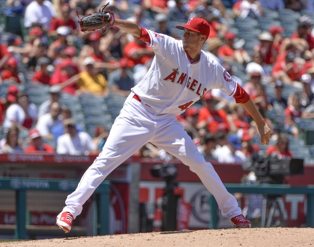 May 4, 2014; Anaheim, CA, USA; Los Angeles Angels starting pitcher Tyler Skaggs (45) throws in the 2nd inning against the Texas Rangers  at Angel Stadium of Anaheim. Mandatory Credit: Robert Hanashiro-USA TODAY Sports