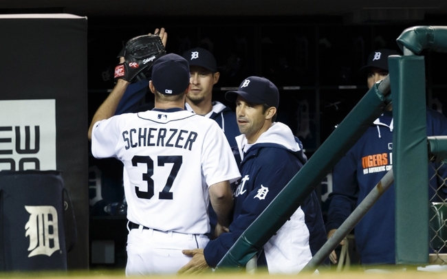 May 5, 2014; Detroit, MI, USA; Detroit Tigers starting pitcher Max Scherzer (37) receives congratulations from manager Brad Ausmus (7) after the eighth inning against the Houston Astros at Comerica Park. Detroit won 2-0. Mandatory Credit: Rick Osentoski-USA TODAY Sports