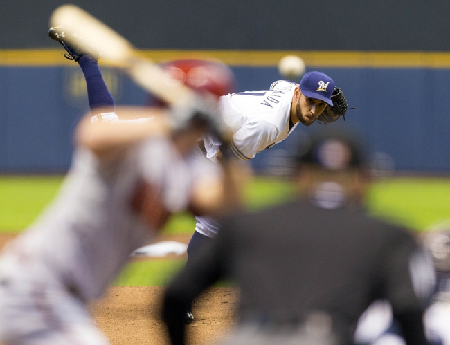 May 6, 2014; Milwaukee, WI, USA; Milwaukee Brewers pitcher Marco Estrada (41) throws a pitch during the first inning against the Arizona Diamondbacks at Miller Park. Mandatory Credit: Jeff Hanisch-USA TODAY Sports