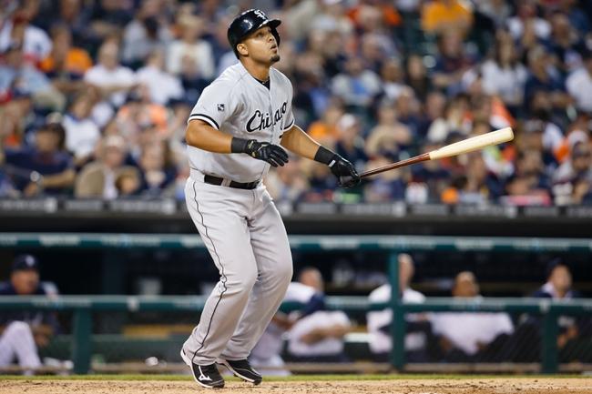 Apr 21, 2014; Detroit, MI, USA; Chicago White Sox first baseman Jose Abreu (79) at bat against the Detroit Tigers at Comerica Park. Mandatory Credit: Rick Osentoski-USA TODAY Sports