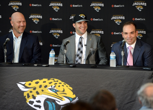 May 9, 2014; Jacksonville, FL, USA; Jacksonville Jaguars head coach Gus Bradley, Blake Bortles (Central Florida) and Jaguars general manager David Cadwell address the media at the Upper West Touchdown Club at EverBank Field a day after being selected as the third overall pick in the first round of the 2014 NFL draft by the Jacksonville Jaguars.  Mandatory Credit: John David Mercer-USA TODAY Sports