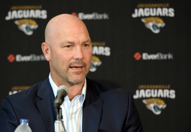 May 9, 2014; Jacksonville, FL, USA; Jacksonville Jaguars head coach Gus Bradley talks to the media about their selection of Blake Bortles (Central Florida) at the Upper West Touchdown Club at EverBank Field a day after Bortles was selected as the third overall pick in the first round of the 2014 NFL draft by the Jacksonville Jaguars.  Mandatory Credit: John David Mercer-USA TODAY Sports