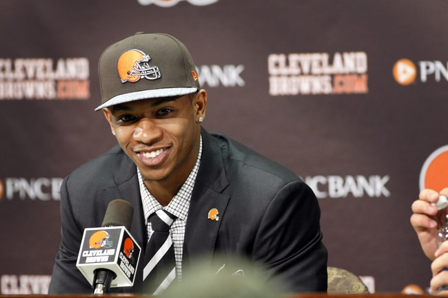 May 9, 2014; Berea, OH, USA; Cleveland Browns first round draft pick Justin Gilbert (Oklahoma State) speaks during a press conference at the Cleveland Browns Headquarters. Mandatory Credit: Joe Maiorana-USA TODAY Sports