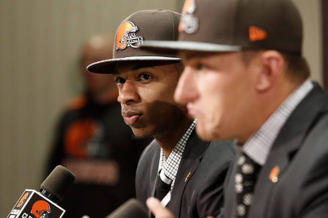 May 9, 2014; Berea, OH, USA; Cleveland Browns first round draft picks Justin Gilbert (Oklahoma State) during a press conference at the Cleveland Browns Headquarters. Mandatory Credit: Joe Maiorana-USA TODAY Sports