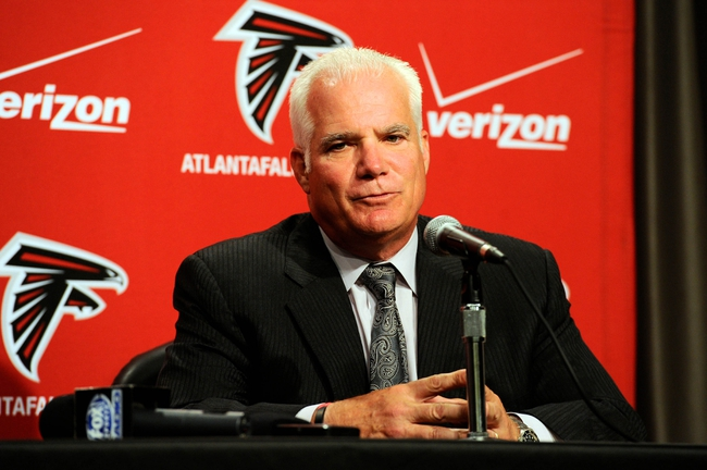 May 9, 2014; Atlanta, GA, USA; Atlanta Falcons head coach Mike Smith speaks about first round draft pick tackle Jake Matthews (not shown) during a press conference at Falcons Training Facility. Mandatory Credit: Dale Zanine-USA TODAY Sports