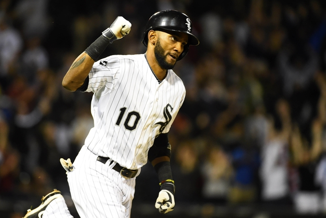 May 9, 2014; Chicago, IL, USA; Chicago White Sox shortstop Alexei Ramirez (10) reacts after hitting a Grand Slam against Arizona Diamondbacks starting pitcher Brandon McCarthy (not pictured) during the fourth inning at U.S Cellular Field. Mandatory Credit: Mike DiNovo-USA TODAY Sports