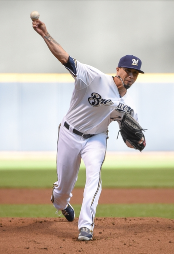 May 10, 2014; Milwaukee, WI, USA; Milwaukee Brewers pitcher Kyle Lohse pitches in the first inning against the Milwaukee Brewers at Miller Park. Mandatory Credit: Benny Sieu-USA TODAY Sports