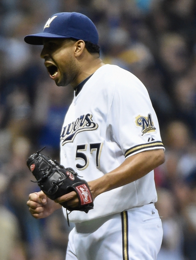 May 10, 2014; Milwaukee, WI, USA;  Milwaukee Brewers pitcher Francisco Rodriguez (57) celebrates after defeating the New York Yankees 5-4 at Miller Park. Mandatory Credit: Benny Sieu-USA TODAY Sports