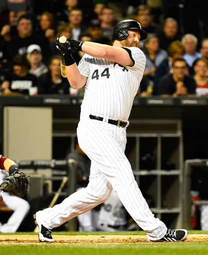 May 9, 2014; Chicago, IL, USA; Chicago White Sox designated hitter Adam Dunn (44) during the fourth inning at U.S Cellular Field. Mandatory Credit: Mike DiNovo-USA TODAY Sports