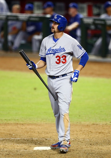 Sept. 17, 2013; Phoenix, AZ, USA: Los Angeles Dodgers outfielder Scott Van Slyke against the Arizona Diamondbacks at Chase Field. Mandatory Credit: Mark J. Rebilas-USA TODAY Sports