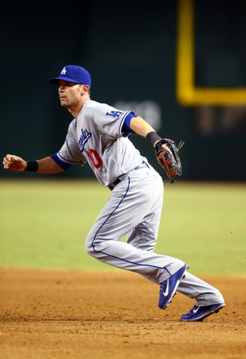 Sept. 17, 2013; Phoenix, AZ, USA: Los Angeles Dodgers first baseman Michael Young against the Arizona Diamondbacks at Chase Field. Mandatory Credit: Mark J. Rebilas-USA TODAY Sports