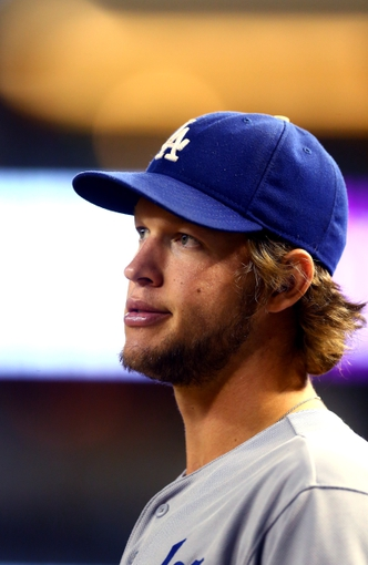 Sept. 17, 2013; Phoenix, AZ, USA: Los Angeles Dodgers pitcher Clayton Kershaw against the Arizona Diamondbacks at Chase Field. Mandatory Credit: Mark J. Rebilas-USA TODAY Sports