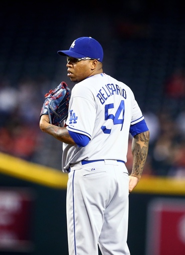 Sept. 17, 2013; Phoenix, AZ, USA: Los Angeles Dodgers pitcher Ronald Belisario against the Arizona Diamondbacks at Chase Field. Mandatory Credit: Mark J. Rebilas-USA TODAY Sports