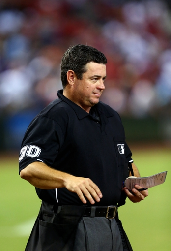 Sept. 17, 2013; Phoenix, AZ, USA: MLB umpire Rob Drake during the game between the Arizona Diamondbacks against the Los Angeles Dodgers at Chase Field. Mandatory Credit: Mark J. Rebilas-USA TODAY Sports