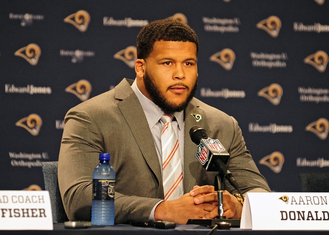 May 13, 2014; St. Louis, MO, USA; St. Louis Rams first-round pick defensive tackle Aaron Donald talks with the media during a press conference at Rams Park. Mandatory Credit: Jeff Curry-USA TODAY Sports