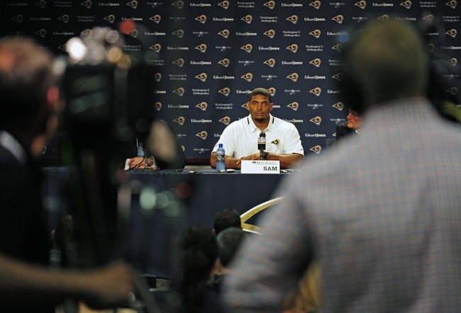 May 13, 2014; St. Louis, MO, USA; St. Louis Rams seventh round pick defensive end Michael Sam talks with the media during a press conference at Rams Park. Mandatory Credi
