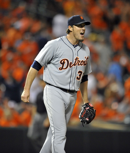 May 13, 2014; Baltimore, MD, USA; Detroit Tigers pitcher Joe Nathan (36) reacts after a game against the Baltimore Orioles at Oriole Park at Camden Yards. The Tigers defeated the Orioles 4-1. Mandatory Credit: Joy R. Absalon-USA TODAY Sports