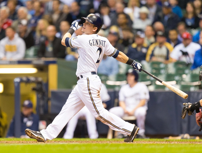 May 6, 2014; Milwaukee, WI, USA; Milwaukee Brewers second baseman Scooter Gennett (2) bats during the game against the Arizona Diamondbacks at Miller Park.  Arizona won 7-5.  Mandatory Credit: Jeff Hanisch-USA TODAY Sports