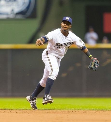 May 6, 2014; Milwaukee, WI, USA; Milwaukee Brewers shortstop Jean Segura (9) during the game against the Arizona Diamondbacks at Miller Park.  Arizona won 7-5.  Mandatory Credit: Jeff Hanisch-USA TODAY Sports
