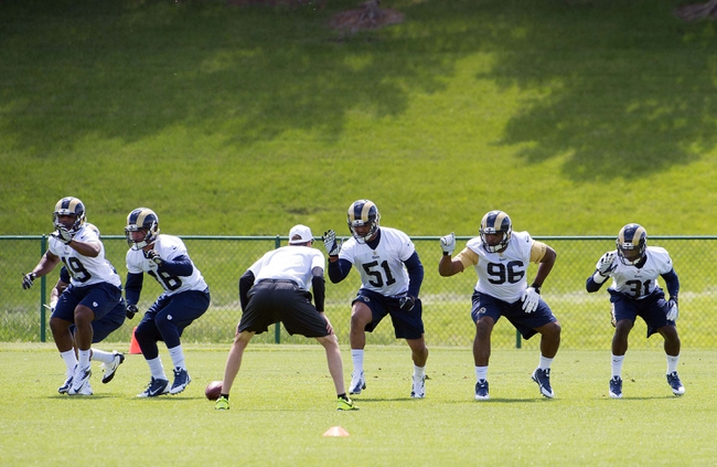 May 16, 2014; St. Louis, MO, USA; St. Louis Rams rookies including Michael Sam (96) during rookie minicamp  at Rams Park. Mandatory Credit: Scott Rovak-USA TODAY Sports