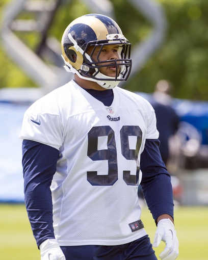 May 16, 2014; St. Louis, MO, USA; St. Louis Rams defensive tackle Aaron Donald (99) during rookie minicamp at Rams Park. Mandatory Credit: Scott Rovak-USA TODAY Sports